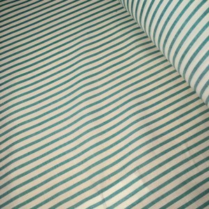"""Cotton stripe fabric 45"""" Wide White and Green material striped in rolls, 10m or 27.4m."""