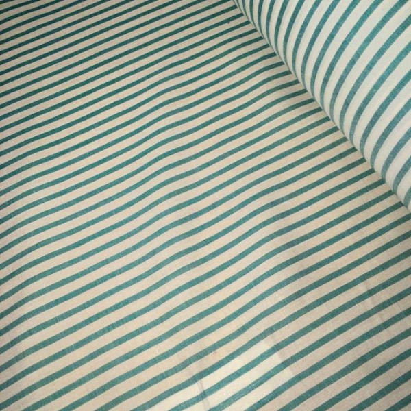 Cotton stripe fabric 45″ Wide White and Green material striped in rolls, 10m or 27.4m.